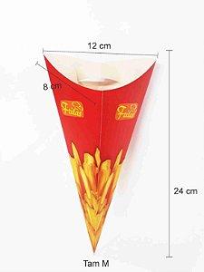 Embalagem Caixa Cone Para Batata Frita 100 Unid Caixinha M