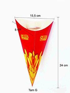 Caixa Caixinha Embalagem Cone Batata Frita 100 Unid Grande G