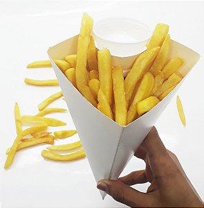 Caixa Cone Para Batata Frita Embalagem P 200 Unid Branca