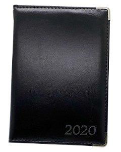 Agenda Diária 2021 Comercial Preta Costurada Luxo Executiva