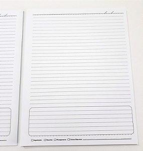 2 Miolos De Caderno Grande Bloco Refil Pautado Papel Branco 21x26,7 cm