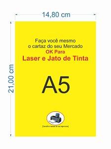 100 Cartaz A5 Amarelo P/ Impressora Jato De Tinta Ou Laser