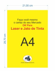 200 Cartaz A4 Amarelo P/ Impressora Jato De Tinta P/ Mercado