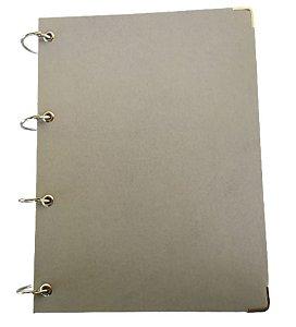 Caderno Universitário Argolado 10 Matérias Cinza Executivo