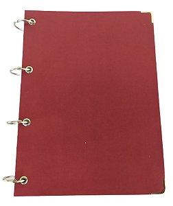Caderno Universitário Argolado Capa Vinho Colegial Cartonado