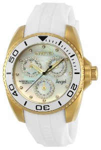 ea105094694 Relógio Invicta Angel 21702 Feminino Quartz caixa banhada a ouro 18k e  pulseira em poliuretano branco