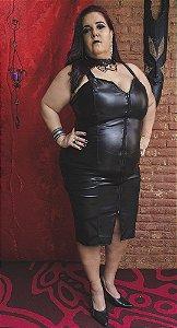 Vestido Plus Size de Couro Preto
