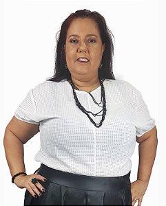 Blusa de Malha e Quadriculada Transparente Plus Size Branca