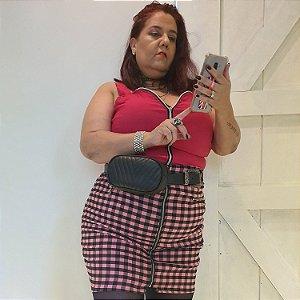 Saia Brixton de Xadrez rosa plus size