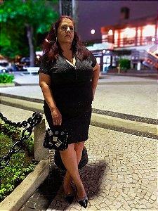 Vestido preto brilho