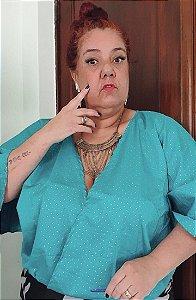 DUPLICADO - Blusa de poa verde plus size manga morcega