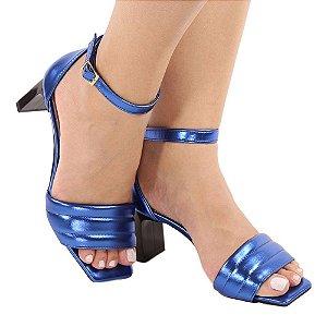 Sandália Zhaceci Salto Baixo Quadradrado Azul