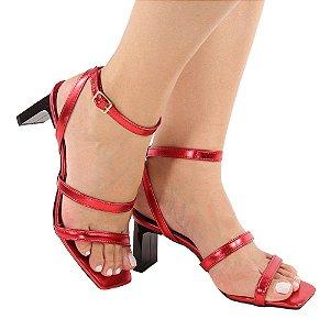 Sandália Zhaceci Salto Baixo Quadradrado Tiras Vermelho