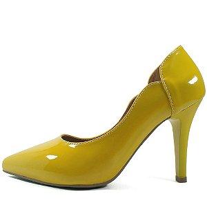 Scarpin Zhaceci Salto Alto Amarelo Clássico
