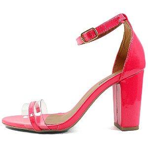 Sandália Zhaceci Salto Bloco Neon Pink
