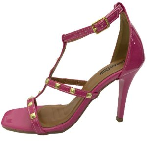 Sandália Zhaceci Salto Alto Bico Quadrado Pink