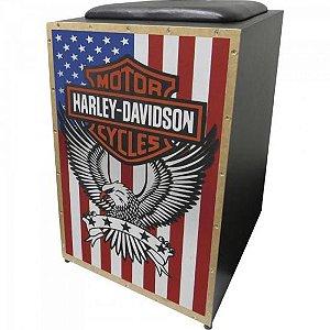 Cajon Eletroacústico Inclinado Profissional K2 COR-005 EQ Harley Davidson
