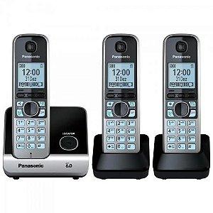 Telefone sem Fio com Base + 2 Ramais KX-TG6713LBB Preto PANA