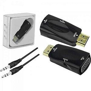 Plug Conversor HDMI x VGA com Saída R+L Preto CHIP SCE