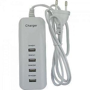 Carregador USB 4 Portas 0.5A a 2A 044-2004 Branco CHIPSCE