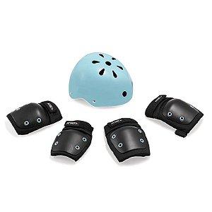 Kit de Proteção Infantil Preto/Azul – Capacete G / Kit M