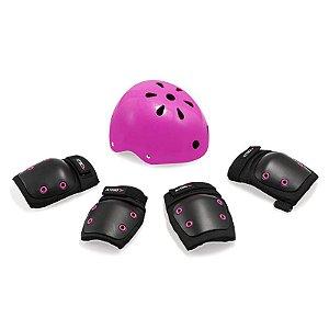 Kit De Proteção Infantil Preto/Rosa – Capacete G / Kit M