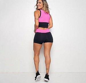 Short Fitness - Preto e Pink