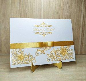 Convite de Casamento MB01 Dourado - 10 unidades