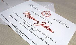 Convite de Casamento com Envelope ( 10 unidades)