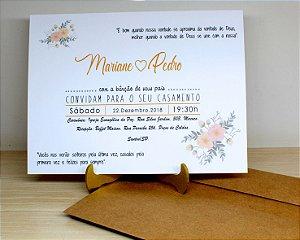 Convite de Casamento Rustico - 10 Unidades - Modelo CR03