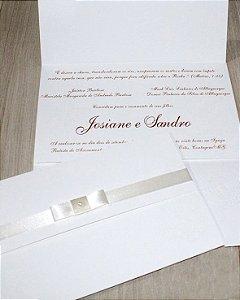 Convite de Casamento 240g - 100 Unidades Brasão em Relevo Seco