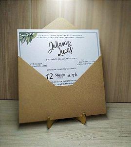 Convite de Casamento Rustico Kraft