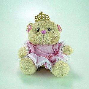 Ursa De Pelúcia Princesa Mini Rosa