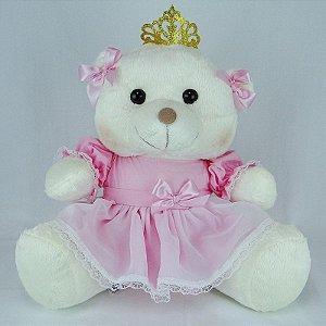 Ursa De Pelúcia Princesa Off White Grande Rosa