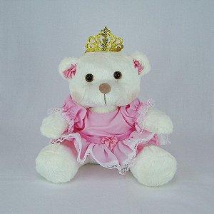 Ursa De Pelúcia Princesa Off White Pequena Rosa