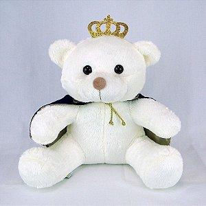 Urso De Pelúcia Príncipe Off White Médio Marinho