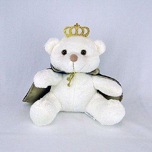 Urso De Pelúcia Príncipe Off White Pequeno Marinho