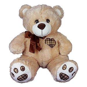 Urso De Pelúcia Coração Bege Claro