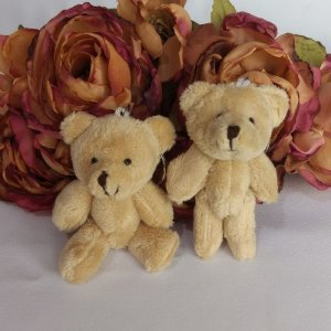 10 Chaveiros Lembrancinhas Mini Ursinhos De Pelúcia - 9cm Bege