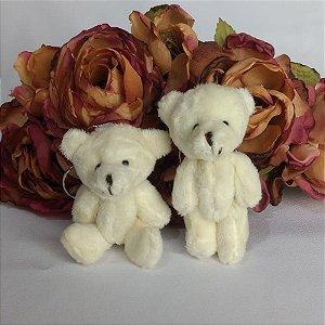 10 Chaveiros Lembrancinhas Mini Ursinhos De Pelúcia - 9cm Creme