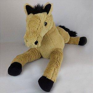Cavalo De Pelúcia Deitado Bege 50cm