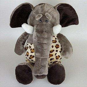 Elefante de Pelúcia 50cm Roupa Safari