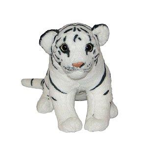 Tigre Branco de Pelúcia Sentado Filhote