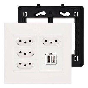 Tomada 4x4 Tripla Monobloco 10A Com Carregador USB Duplo Pial Plus+