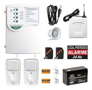 Kit Central Alarme Discadora GSM Com 2 Sensores Infra Sem Fio Compatec
