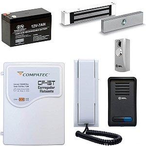 Interfone Com Fechadura Magnética HDL Com Fonte Bateria Botoeira