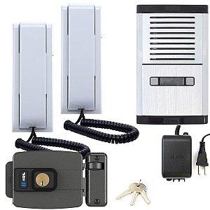 Interfone Coletivo 2 Pontos Com Fechadura Elétrica HDL Abre p/ Dentro