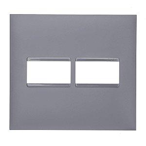 Placa 4x4 1+1 Postos Pial Plus+ Legrand Cinza 618511CZ