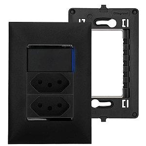 Kit Tomada Dupla 10A Com Interruptor Simples Led Preto Pial Plus+