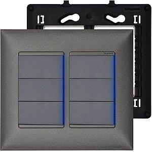 Interruptor 4x4 6 Teclas Pial Plus+ Prata Alumínio Com Led